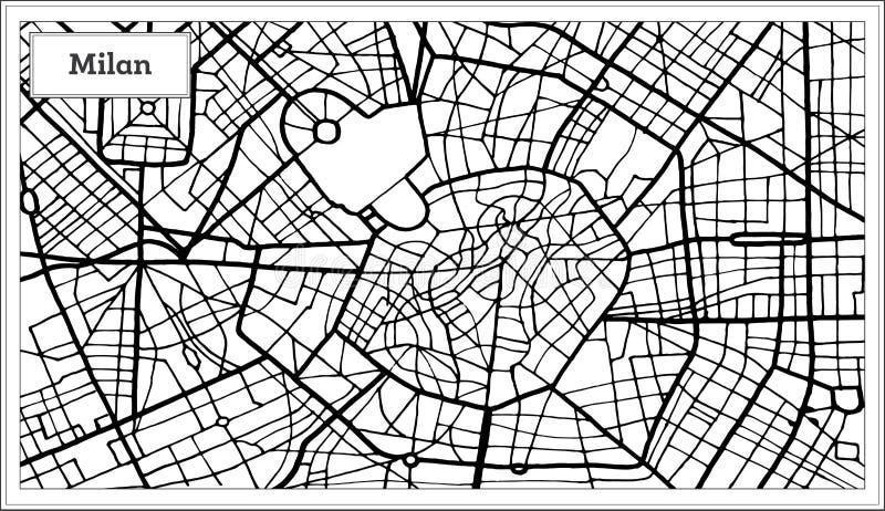 Milan Italy City Map i svartvit färg royaltyfri illustrationer