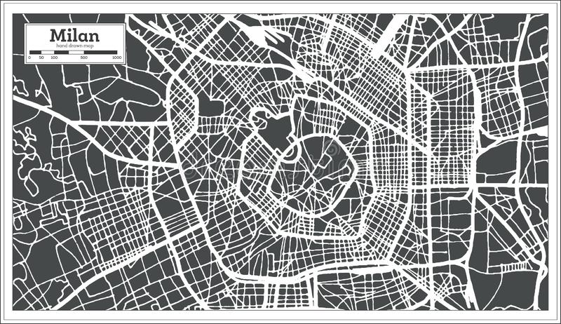 Milan Italy City Map im Retrostil Antilocapra Americana lizenzfreie abbildung
