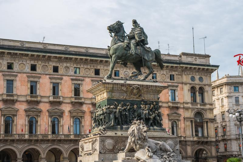 Milan, Italy - 14.08.2018: Equestrian Statue of King Vittorio Em stock photos