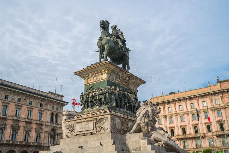 Milan, Italy - 14.08.2018: Equestrian Statue of King Vittorio Em royalty free stock image