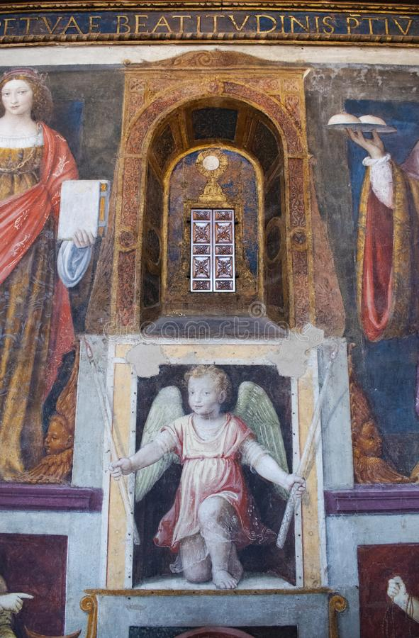 Milan, Italy, Europe, San Maurizio al Monastero Maggiore, church, the Sistine Chapel of Milan, art, fresco, monastery, convent. Milan, Italy, Europe: San stock photography