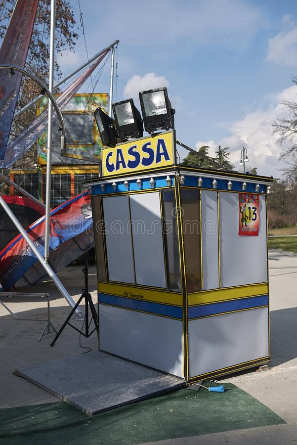 Ticket counter in an amusement ark. Milan, Italy - February 09, 2017 : Amusement park in Milan royalty free stock images