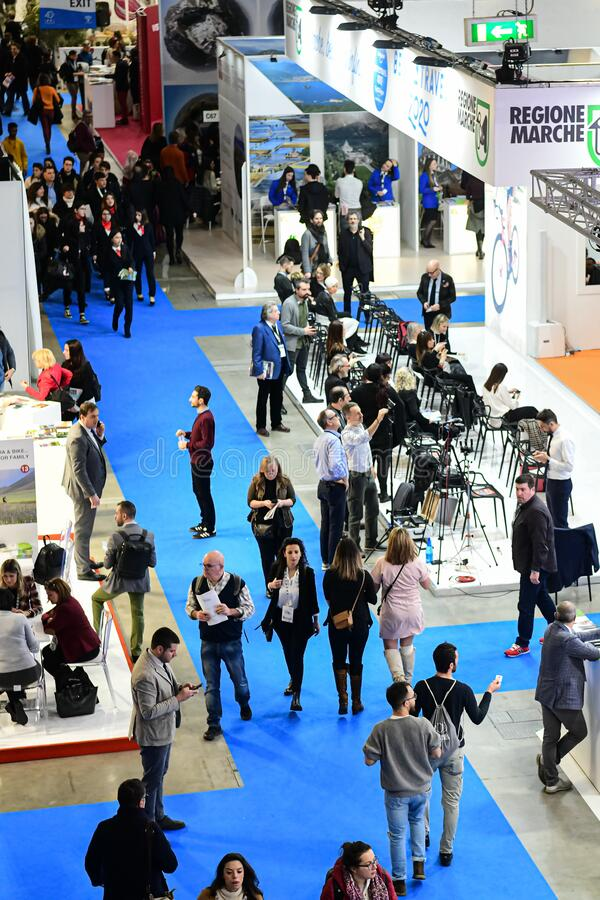 Visitors at trade fair show stock image