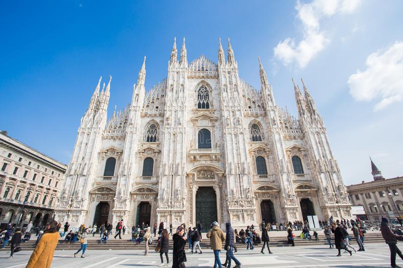 MILAN, ITALY - FEBRUARY 26, 2018: Milan Cathedral Or Duomo Di Milano Is The Cathedral Church. Famous Landmark royalty free stock images
