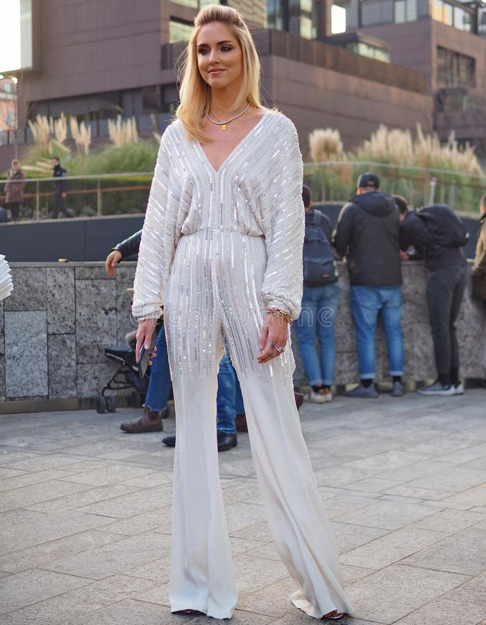 MILAN, Italy: 20 February 2019: Model street style outfit stock photography