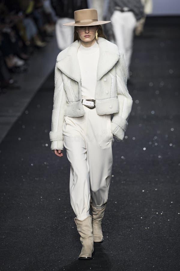 A model walks the runway at the Alberta Ferretti show at Milan Fashion Week Autumn/Winter 2019/20 stock photo