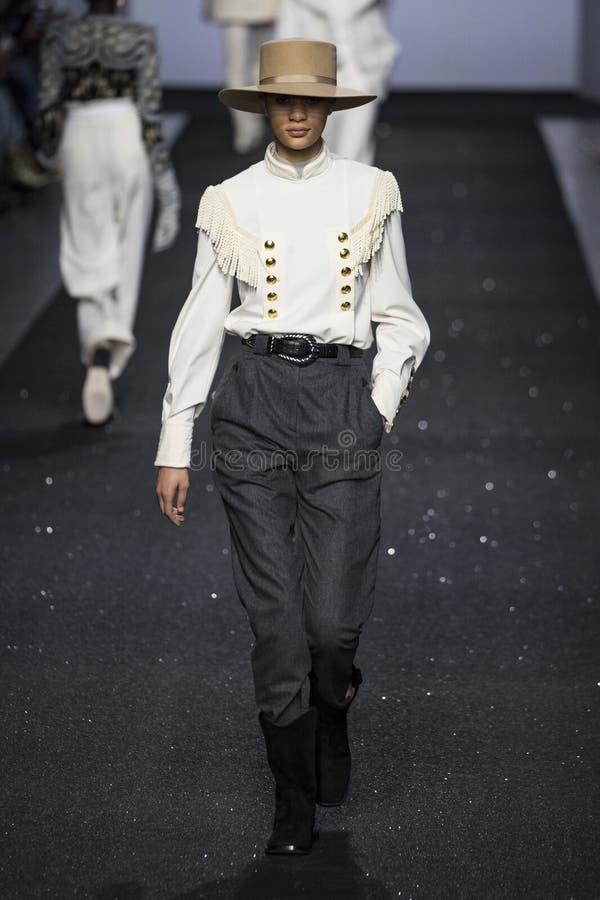 A model walks the runway at the Alberta Ferretti show at Milan Fashion Week Autumn/Winter 2019/20 royalty free stock photography
