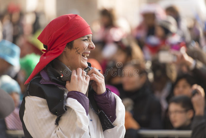 Pirate woman laughing in parade, Milan royalty free stock photography