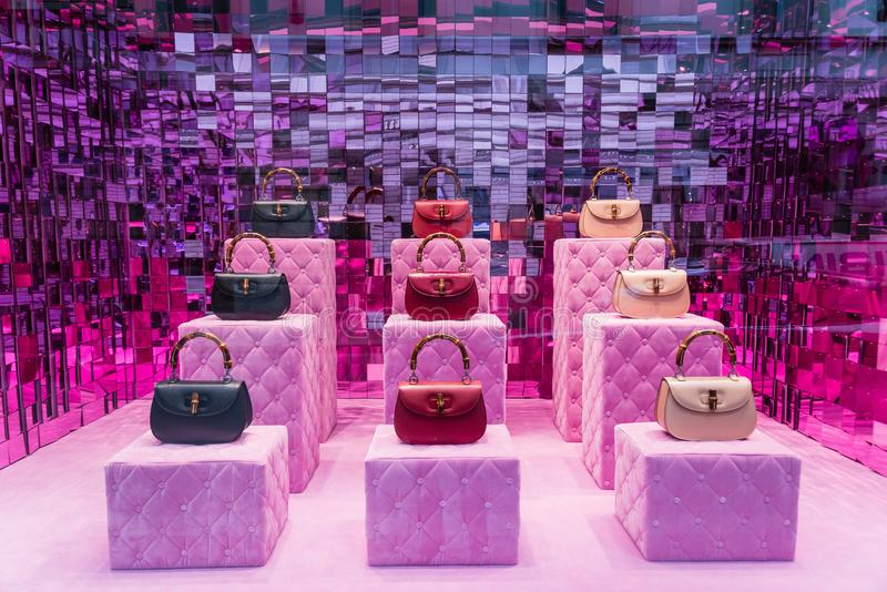 Milan, Italy - February 28, 2017: Shop window of a Gucci shop in stock photography