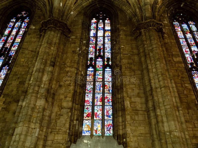 Stained glass window in Milan Cathedral royalty free stock photo