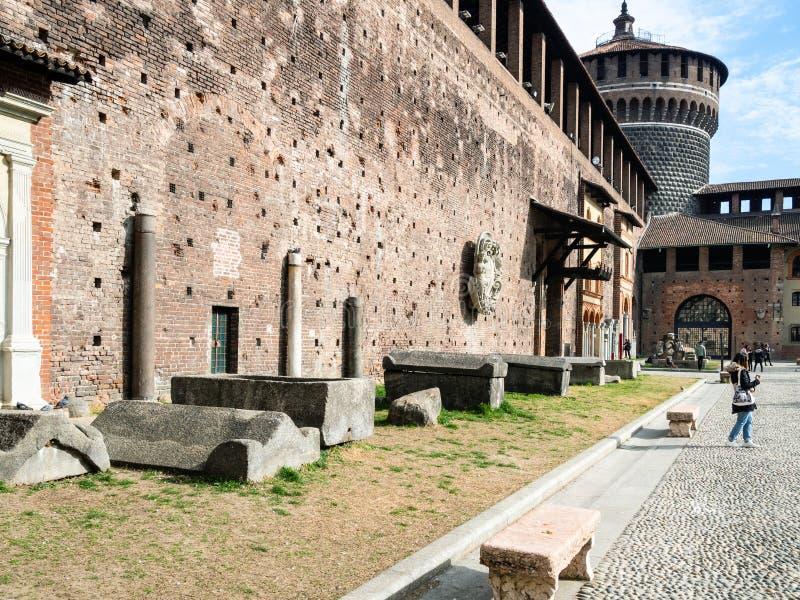 Roman ruins in courtyard of Castello Sforzesco royalty free stock image