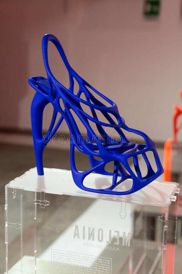3D printed shoes on display at White in Milan, Italy stock image