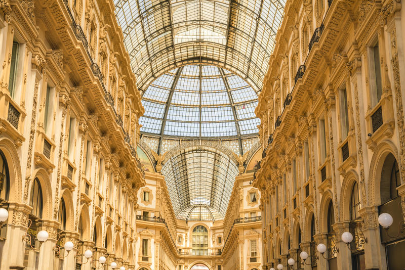MILAN, ITALY - 13-05-2017: Galleria Vittorio Emanuele II in Mila. N. It`s one of the world`s oldest shopping malls, designed and built by Giuseppe Mengoni royalty free stock photography