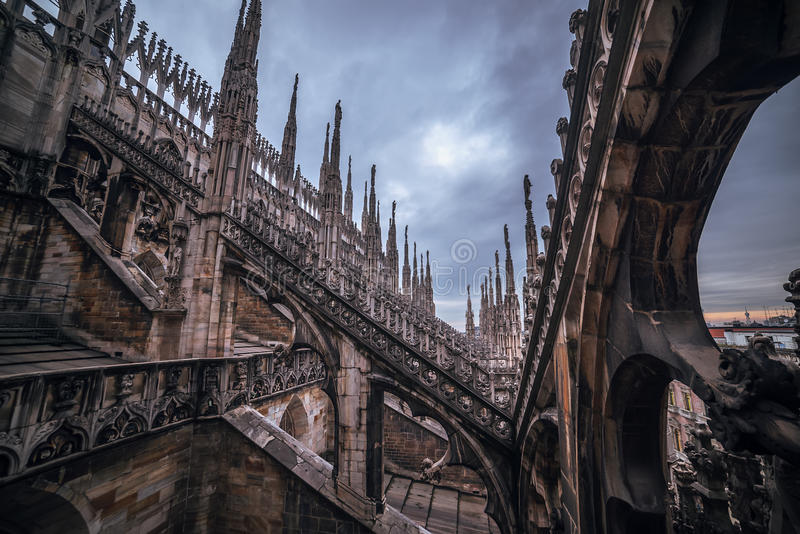 Milan, Italy: Gothic roof of Cathedral stock photos