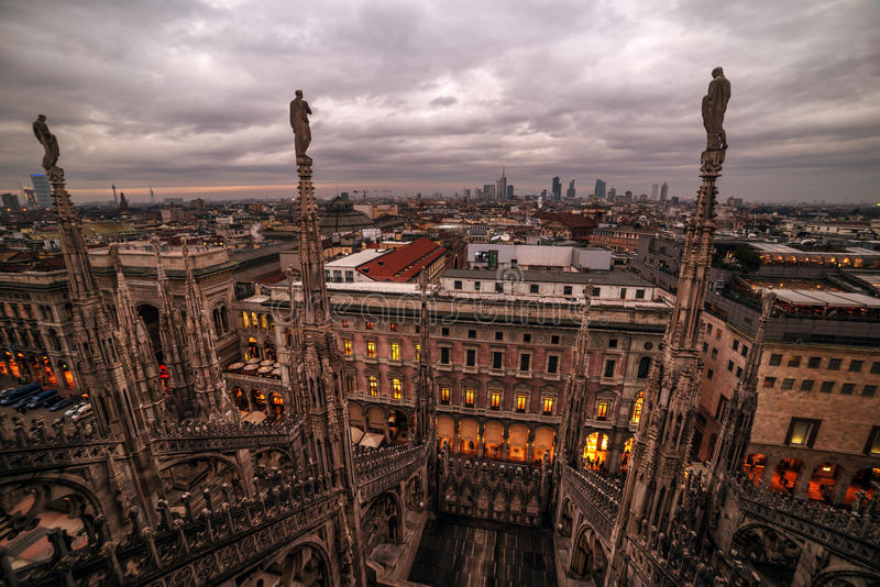 Milan, Italy: gothic roof of Cathedral royalty free stock photos