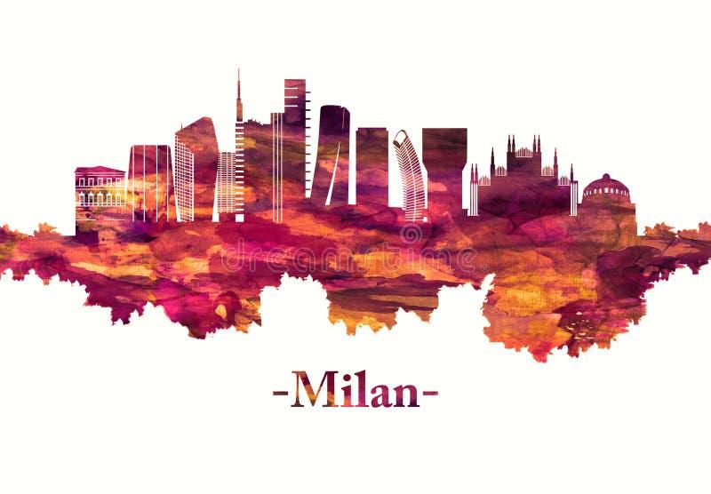 Milan Italy horisont i rött royaltyfri illustrationer