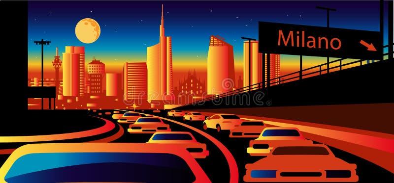 Milan Italy-horizon royalty-vrije illustratie