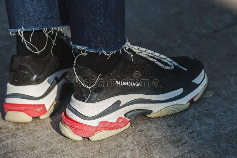 Detail of shoes during Milan Men`s Fashion Week royalty free stock images