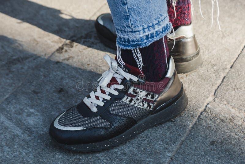 Detail of shoes during Milan Men`s Fashion Week stock image