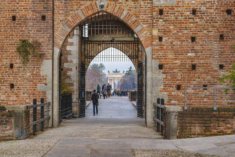MILAN, ITALY, JANUARY - 2018 - Exterior view of sforza castle, a touristic attraction medieval fortress located at the historic royalty free stock photo