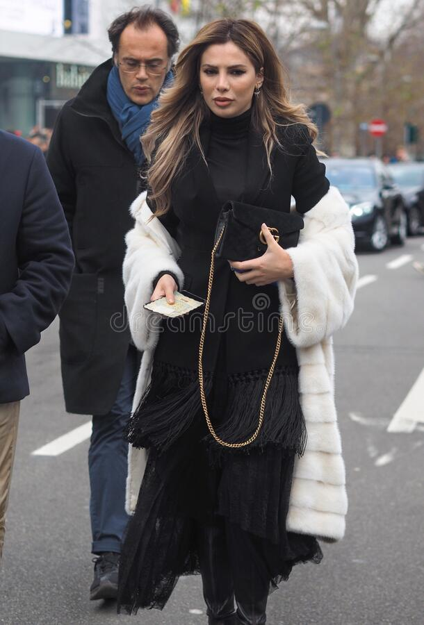 MILAN, Italy: 14 January 2020:  Fashion blogger street style outfit stock photography