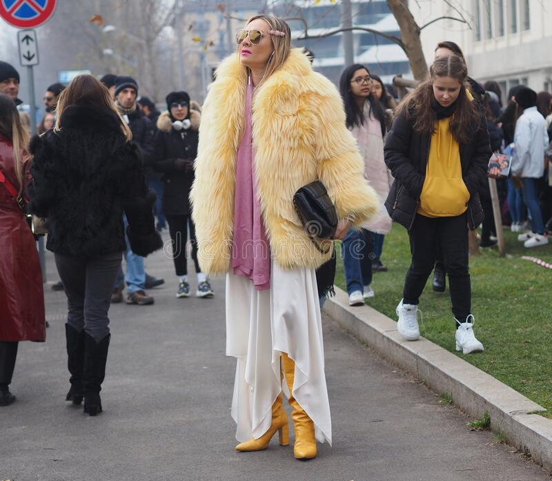 MILAN, Italy: 14 January 2020:  Fashion blogger street style outfit stock image