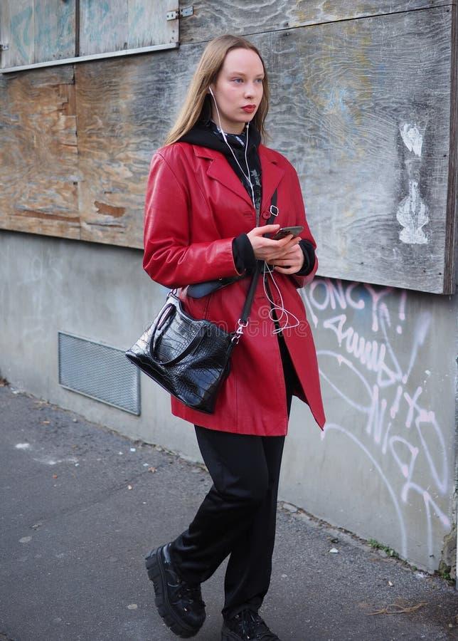 MILAN, Italy: 12 January 2020:  Fashion blogger street style outfit stock photos