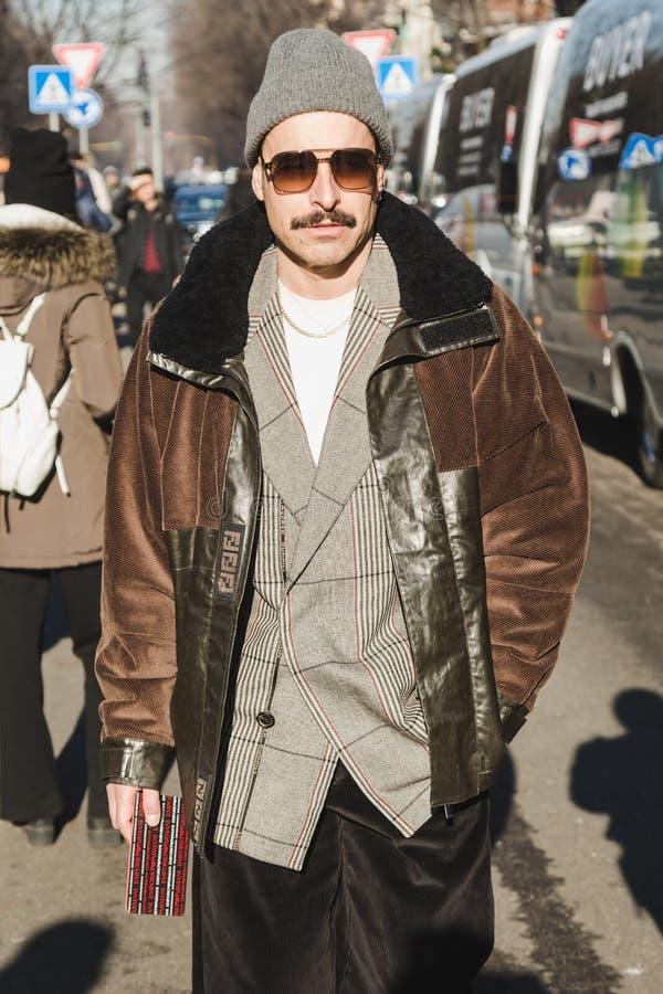 Fashionable man during Milan Men`s Fashion Week stock image