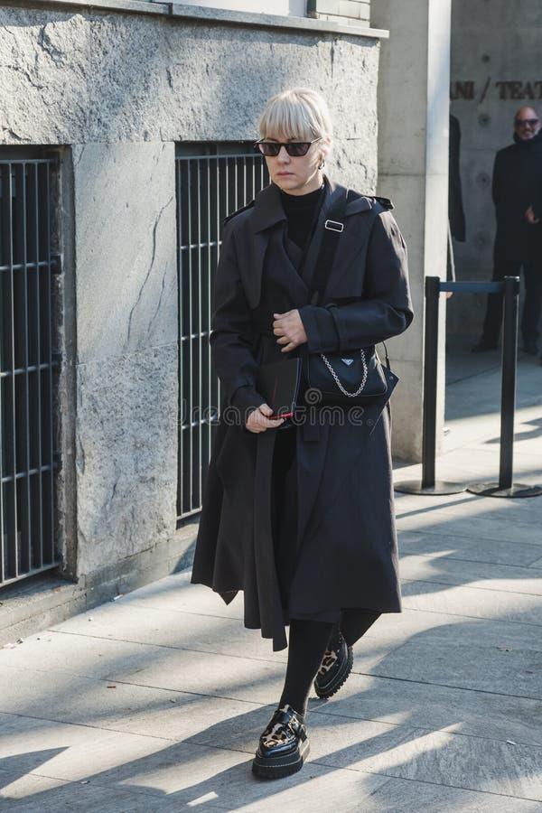 Fashionable man during Milan Men`s Fashion Week stock photos