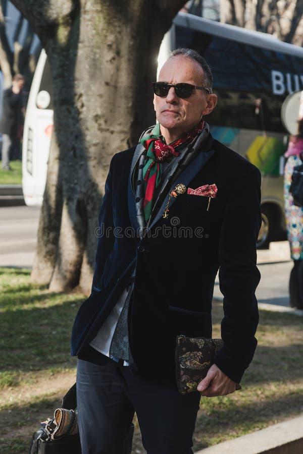 Fashionable man during Milan Men`s Fashion Week royalty free stock images