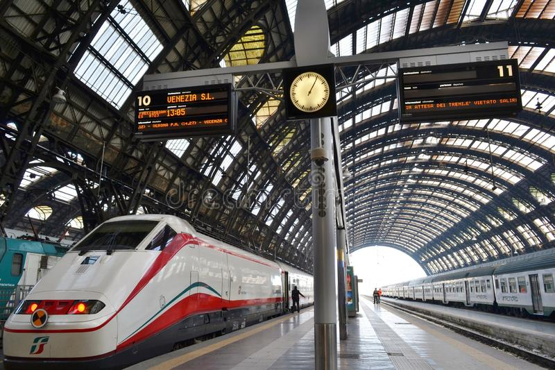Freccia Argento - White Arrow - high speed train is ready for departure to Venice in the Milan Central railway station. royalty free stock images