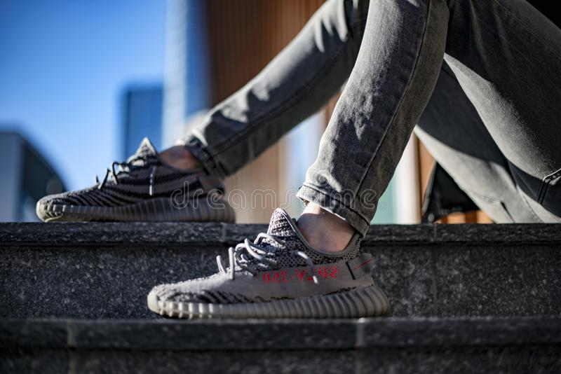 Yeezy 350 detail royalty free stock photo