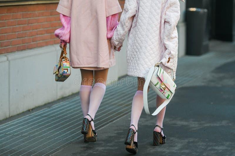 Street style during Milan Fashion Week Men`s royalty free stock photography