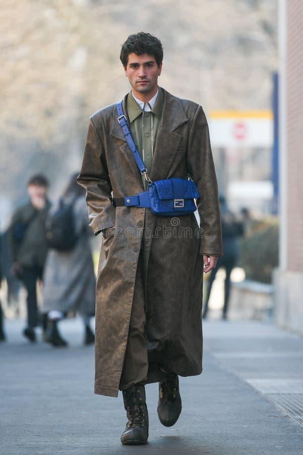 Street style during Milan Fashion Week Men`s stock photos