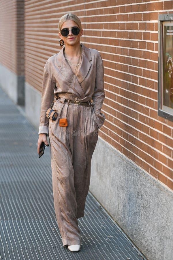 Street style during Milan Fashion Week Men`s stock photography