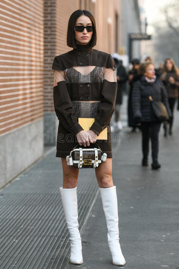 Street style during Milan Fashion Week Men`s royalty free stock images