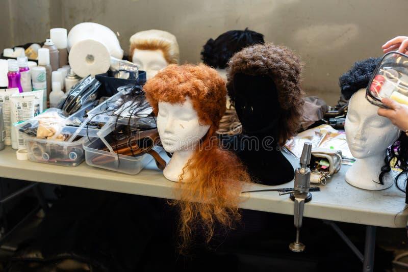 Backstage during Milan Men`s Fashion Week royalty free stock photo