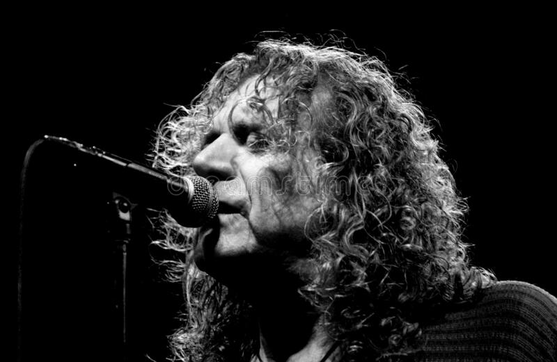Robert Plant  during the concert. Milan Italy, 11 July 2003, live concert of Robert Plant ,Dreamland Tour 2003 at the Madzapalace: The singer Robert Plant during royalty free stock photos