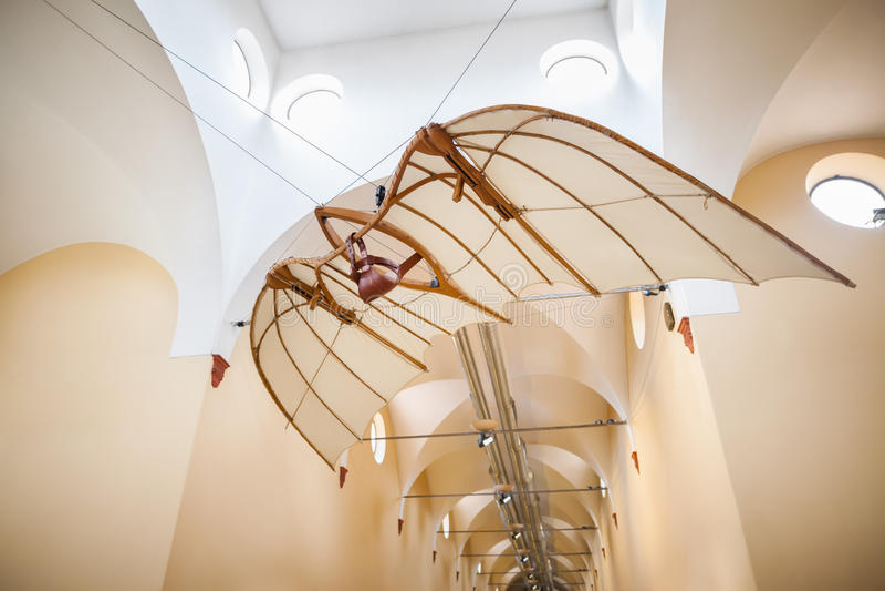 MILAN, ITALY - JUNE 9, 2016: flying machine of Leonardo da Vinci royalty free stock image
