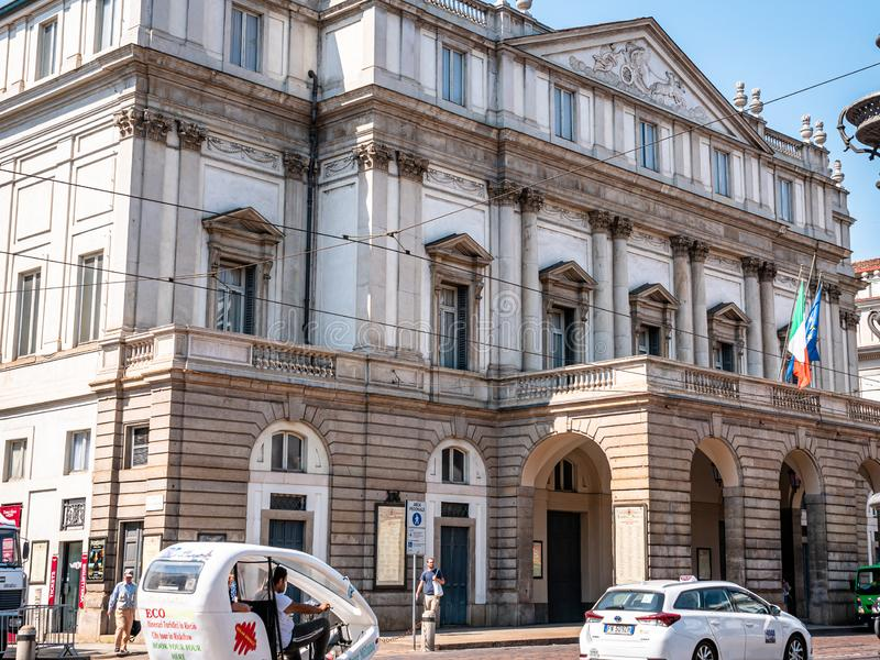 Teatro alla Scala Milan Italy. Lavish, 18th-century theatre, famous for Italian opera & ballets, with a museum & music library. royalty free stock photo