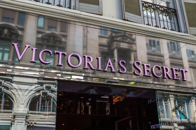 Victoria`s Secret sign at fashion store. stock photo