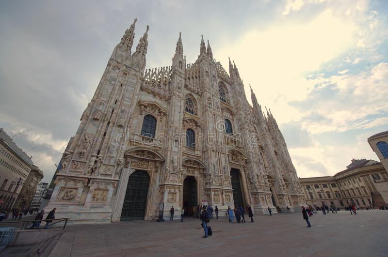 The famous Dome of Milan, cathedral with people in Italy royalty free stock photos