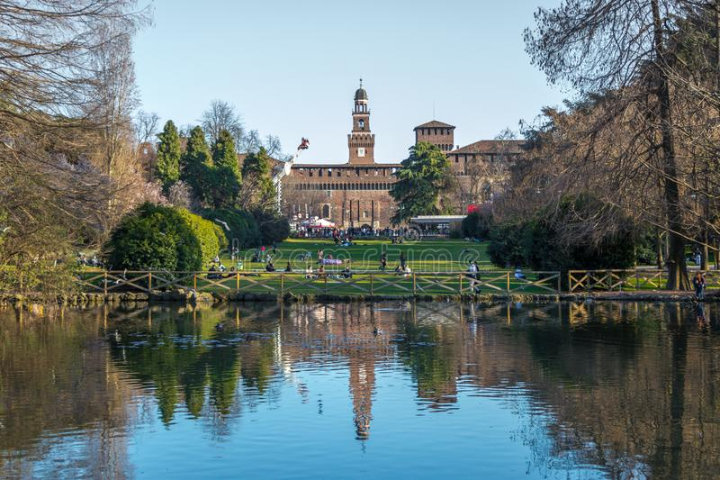 Lake in Sempione Park in the historic center of the city near the walls of the Sforza Castle, Milan, Italy stock photos