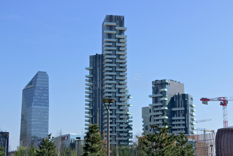Milan, Italy.  March 21 2019. Residential complex of Torre Solaria, Torre Aria and Torre Solea. Residential complex of Torre Solaria, Torre Aria and Torre Solea royalty free stock photography