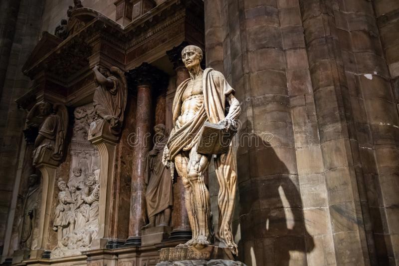 Milan, Italy - March 8, 2019: Statue of St. Bartholomew Flayed was one of 12 Apostles and an early Christian martyr that was stock image