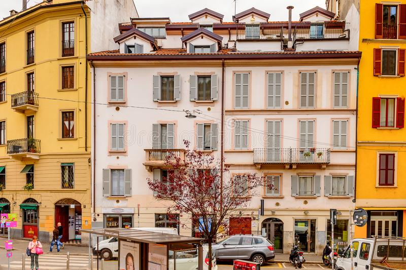 Architecture of Milan, Italy. MILAN, ITALY - May 2, 2014: Architecture of the centre of Milan, the capital of Lombardy, Italy. Milan was the host of the 2015 royalty free stock image