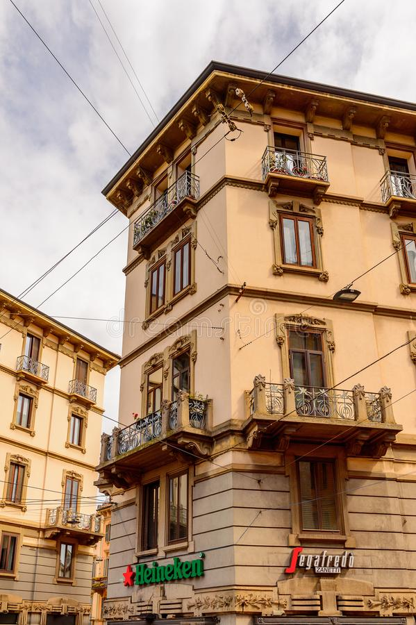 Architecture of Milan, Italy. MILAN, ITALY - May 2, 2014: Architecture of the centre of Milan, the capital of Lombardy, Italy. Milan was the host of the 2015 stock photo