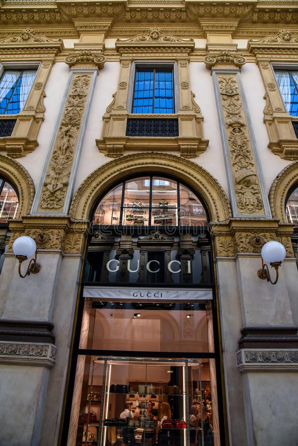 Shop Gucci Milano in Gallery Emanuele II Italy royalty free stock images