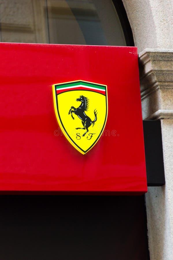 Ferrari logo in Milan in Italy. stock photos
