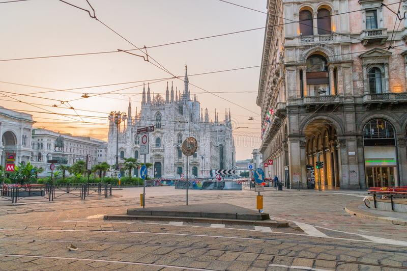 Piazza del Duomo or Cathedral Square at sunrise. royalty free stock photos